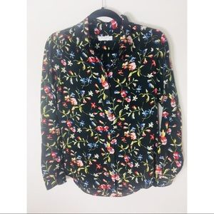 Equipment Xs floral silk button up blouse